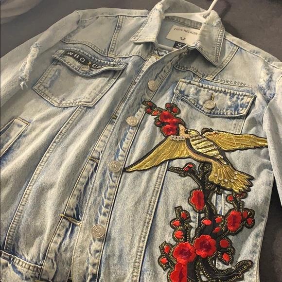 True Religion Jackets & Blazers - True Religion Trucker Embroidered Jacket